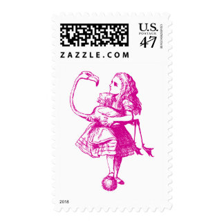 Alice and Flamingo Inked Pink Postage