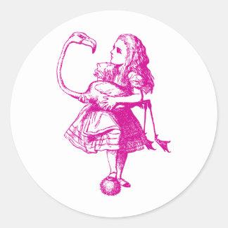 Alice and Flamingo Inked Pink Round Sticker