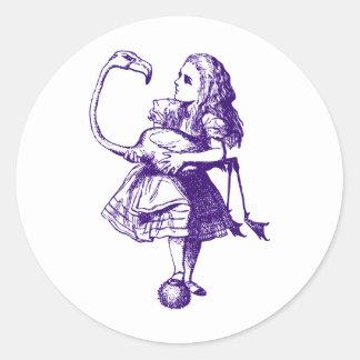Alice and Flamingo Inked Purple Classic Round Sticker