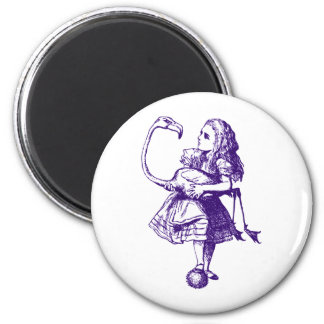 Alice and Flamingo Inked Purple Magnets