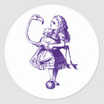 Alice and Flamingo Inked Purple Classic Round Sticker
