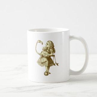 Alice and Flamingo Inked Sepia Coffee Mug