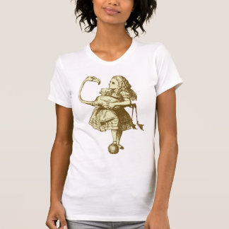 Alice and Flamingo Inked Sepia T Shirt