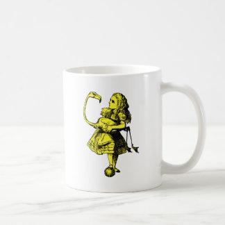Alice and Flamingo Inked Yellow Fill Coffee Mug