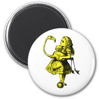 Alice and Flamingo Inked Yellow Fill Refrigerator Magnet