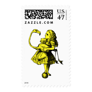 Alice and Flamingo Inked Yellow Fill Postage