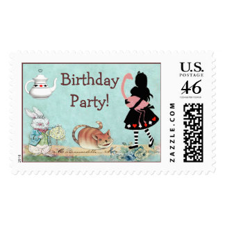 Alice and Flamingo Wonderland Birthday Party Stamp
