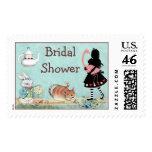 Alice and Flamingo Wonderland Bridal Shower Postage Stamp
