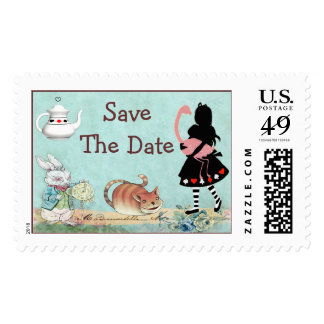 Alice and Flamingo Wonderland Save The Date Stamp