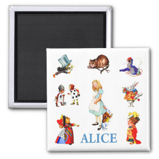 Alice and Friends in Wonderland 2 Inch Square Magnet