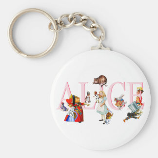 ALICE AND FRIENDS BASIC ROUND BUTTON KEYCHAIN