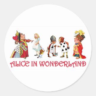 ALICE AND FRINEDS IN WONDERLAND CLASSIC ROUND STICKER