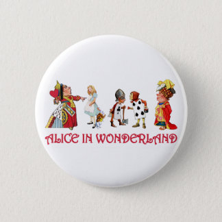 ALICE AND FRINEDS IN WONDERLAND PINBACK BUTTON