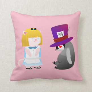Alice and Hatter Throw Pillow