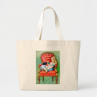 ALICE AND HER CAT, DINAH LARGE TOTE BAG