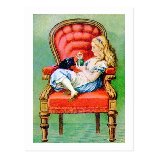 ALICE AND HER CAT, DINAH POSTCARD