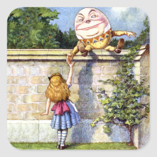 Alice and Humpty Dumpty in Wonderland Square Sticker