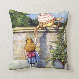 Alice and Humpty Dumpty In Wonderland Throw Pillow