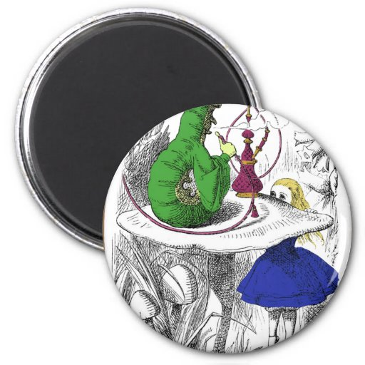 Alice and the Caterpillar 2 Inch Round Magnet