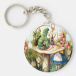 Alice and the Caterpillar in Wonderland Basic Round Button Keychain