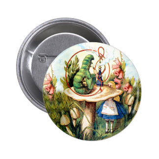 Alice and the Caterpillar in Wonderland Button