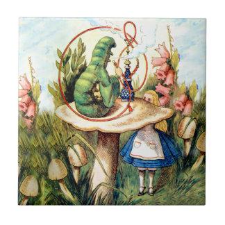 Alice and the Caterpillar in Wonderland Ceramic Tile