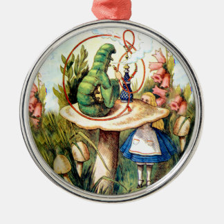 Alice and the Caterpillar in Wonderland Metal Ornament