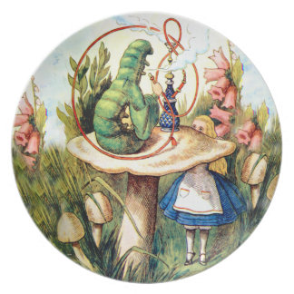 Alice and the Caterpillar in Wonderland Plate