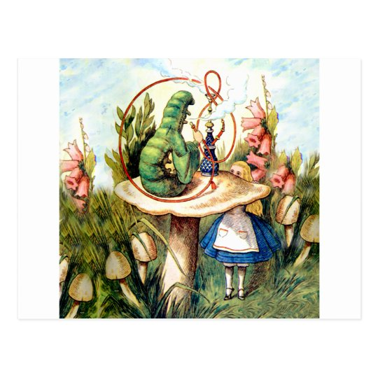 Alice and the Caterpillar in Wonderland Postcard