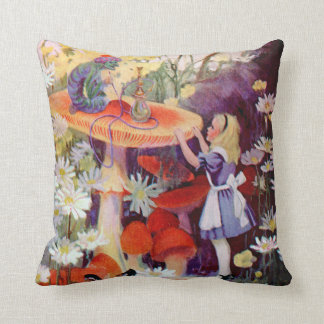 Alice and the Caterpillar in Wonderland Throw Pillow