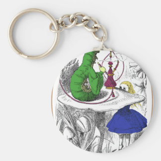 Alice and the Caterpillar Basic Round Button Keychain