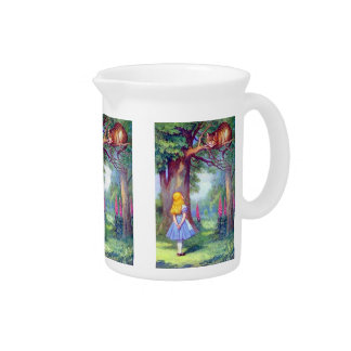 Alice and the Cheshire Cat Full Color Beverage Pitcher