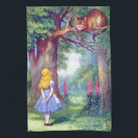 """Alice and the Cheshire Cat Full Color Hand Towel<br><div class=""""desc"""">Kitchen Towel</div>"""