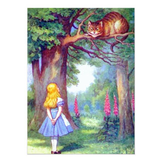 Alice and the Cheshire Cat Full Color 5.5x7.5 Paper Invitation Card