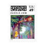 Alice and the Cheshire Cat Full Color Postage Stamp
