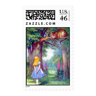 Alice and the Cheshire Cat Full Color Stamps