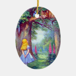 Alice and the Cheshire Cat in Full Color Ornament
