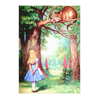 Alice and the Cheshire Cat in Wonderland Canvas Print