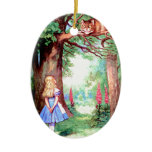 Alice and The Cheshire Cat in Wonderland Ceramic Ornament