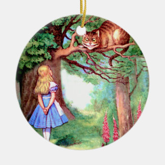Alice and The Cheshire Cat in Wonderland Ceramic Ornament