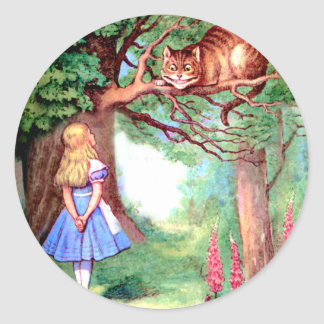 Alice and The Cheshire Cat in Wonderland Classic Round Sticker