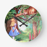 Alice and The Cheshire Cat in Wonderland Round Wall Clocks
