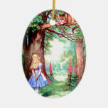 Alice and The Cheshire Cat in Wonderland Double-Sided Oval Ceramic Christmas Ornament