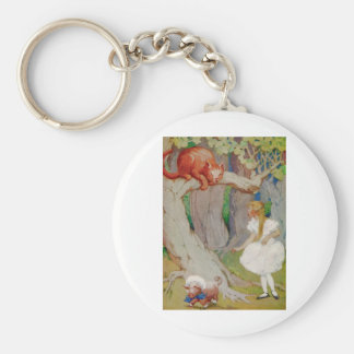 Alice and the Cheshire Cat in Wonderland Keychain
