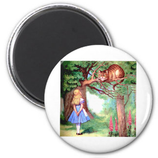 Alice and the Cheshire Cat in Wonderland Magnet