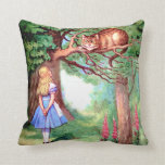 Alice and the Cheshire Cat in Wonderland Throw Pillows