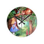 Alice and The Cheshire Cat in Wonderland Round Wall Clocks