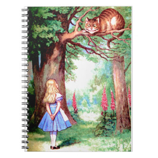 Alice and The Cheshire Cat in Wonderland Spiral Notebook