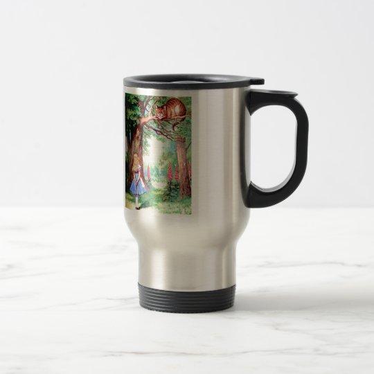 Alice and The Cheshire Cat in Wonderland Travel Mug
