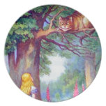 Alice and the Cheshire Cat Melamine Plate
